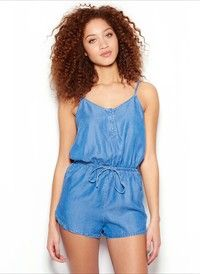 Blue Wave Non-Stretch Denim Romper