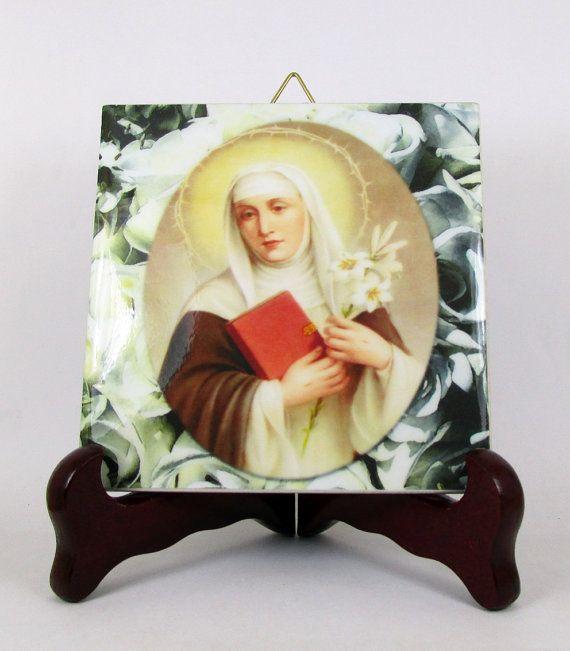 St Catherine of Siena #Catholic #icon on ceramic tile https://www.etsy.com/it/listing/239334840/christian-art-saint-catherine-of-siena