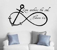 "Dnven (Black 30""w X 15""h) Love Anchors the Soul Ocean Undersea Infinity Symbol Bedroom Wall Decals Stickers Art Decor Home Vinyl Lettering Sailing Sayings Theme Wall Decals"