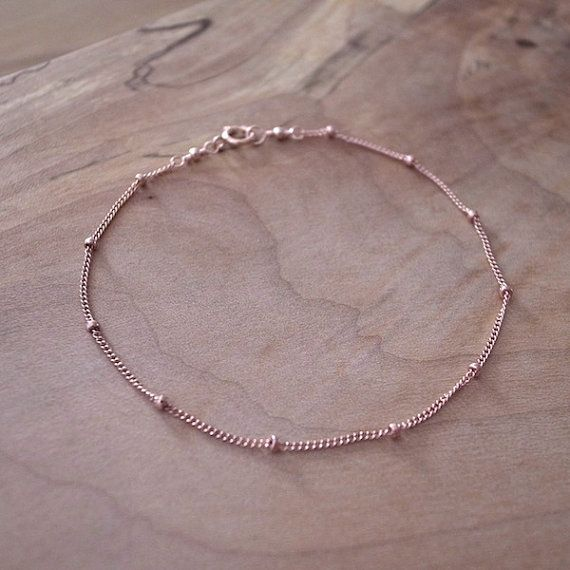 Rose Gold Filled Chain Bracelet Gold Satellite Chain by sorastudio