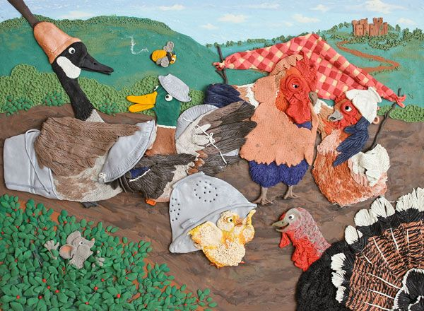 Chicken Licken-submission for SCBWI Tomie dePaola award 2011, plasticine illustration