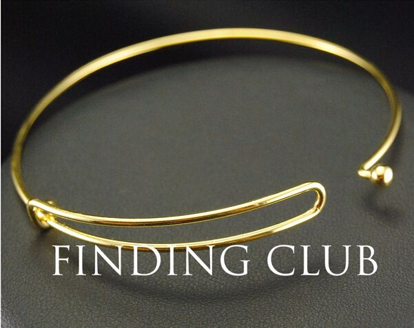 Hot!!!!! 20pcs Gold plated Copper Expandable Adjustable Fashion Jewelry Wiring Bangle Bracelet For Charms BA-10