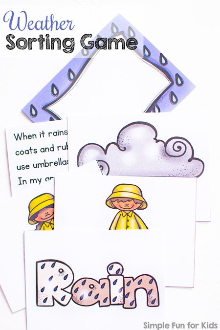 Learn about four different types of weather with this cute printable Weather Sorting Game! Great for different skill levels from toddlers to kindergarteners.