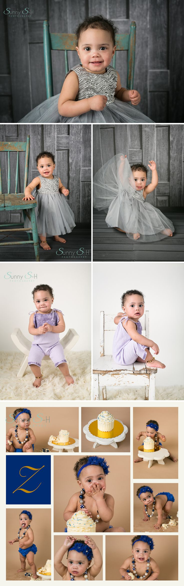 Super sweet first birthday cake smash milestone photo shoot.