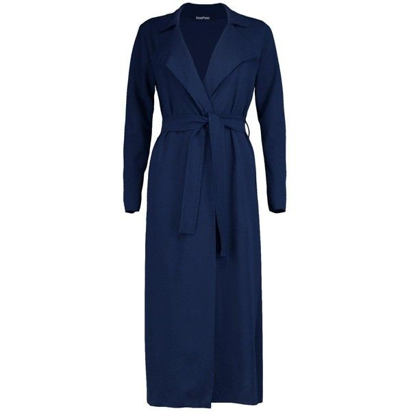 Boohoo Melanie Belted Waterfall Trench (41 CAD) ❤ liked on Polyvore featuring outerwear, coats, belted coat, trench coat, blue coat, blue trench coat and belted waterfall coat
