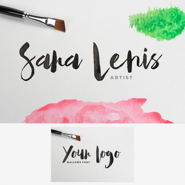 Watercolor stained logo mock up Free Psd