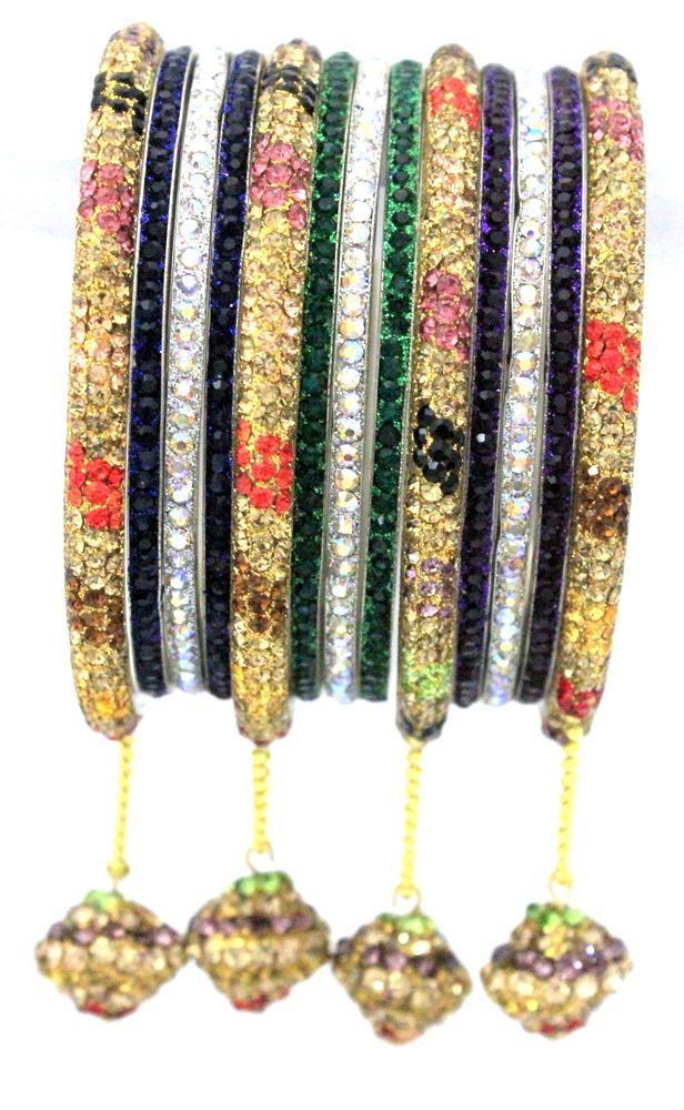 13 Pieces Indian Jewellery Multi-Coloured Crystal Metal Bangles Jhumke Bracelet  #mycrystalbanglesdotcom #Bangle