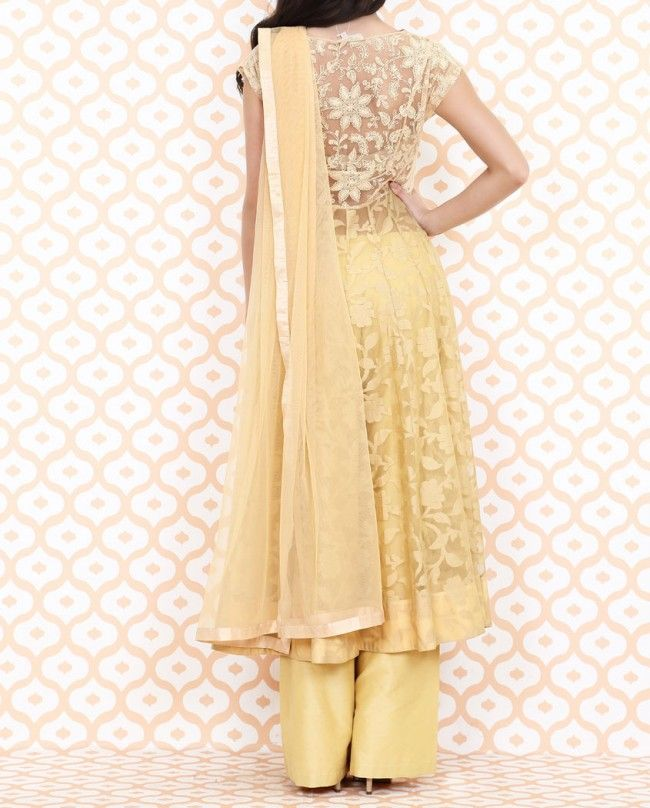 ANITA DONGRE Beige Anarkali Suit with Floral Patterns