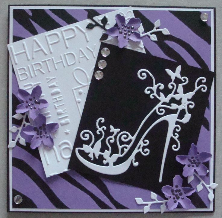 G121 Hand made Birthday card using Tattered Lace shoe die. By Linda Fraser