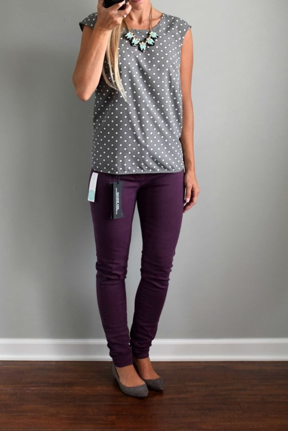 Love the purple color of these Liverpool Adele Skinny Jean and you know how I…