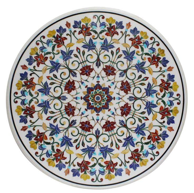 "44"" Round Marble Dining Table Top Marquetry Mosaic Floral Inlay Outdoor Decor #MarbleTop #DiningTable #RestaurantTable #Gemstones #Handmade #HallwayTableDecor #FineArt"