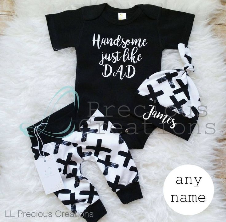 Coming Home Baby Boy Outfit Newborn Boy Clothes Handsome just like Dad Baby Boy Leggings Hat Black White Outfit Vintage Crosses Monochrome by LLPreciousCreations on Etsy https://www.etsy.com/listing/575569523/coming-home-baby-boy-outfit-newborn-boy #babyboyoutfits