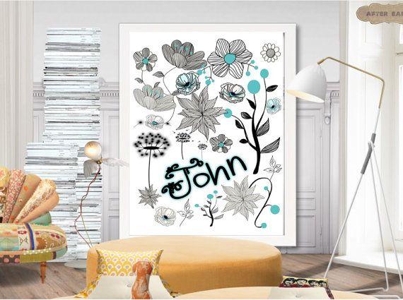 Floral printable name