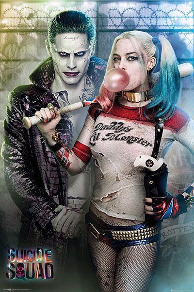 Póster Joker y Harley Quinn, posando. Escuadrón Suicida  Póster con la imagen de los dos grandes villanos Joker y Harley basados en la película Escuadrón Suicida.