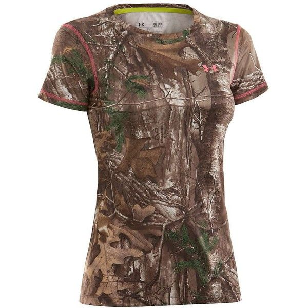 Under Armour Women's UA Scent Control EVO HG Camo SS Tee ($40) ❤ liked on Polyvore featuring activewear, activewear tops, under armour and under armour sportswear