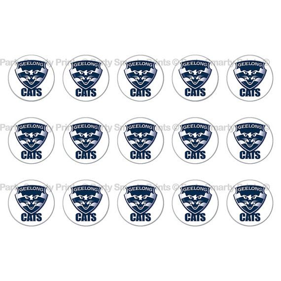 Geelong Cats AFL 1 Inch Round Digital by PartySmartyPrints
