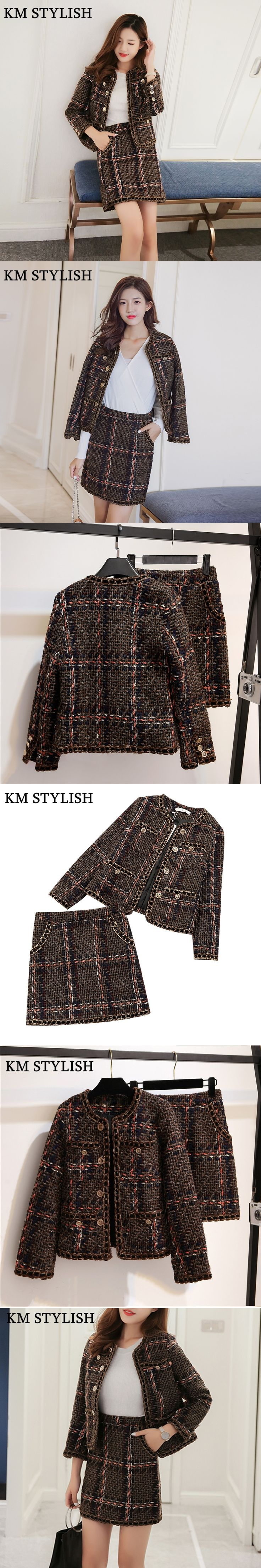 2017 Spring and Autumn New Arches Woolen Two-piece Set Skirt Womens Fashion Jacket Bunny Skirt
