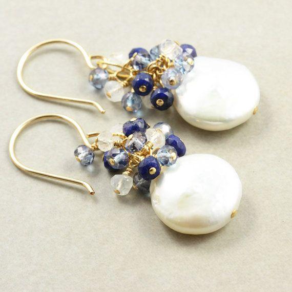 Pearl Sapphire Cluster Earrings, Coin Pearl Earrings, June Birthstone Jewelry - inspiration
