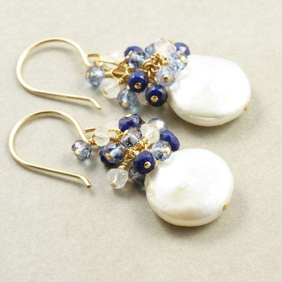 Pearl Sapphire Cluster Earrings, Coin Pearl Earrings, June Birthstone Jewelry - inspiration