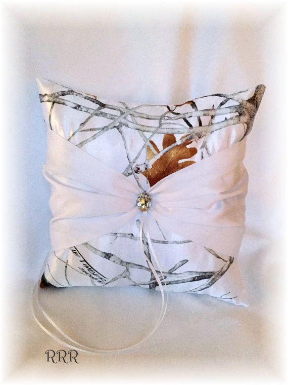Snow Camo Wedding Ring Pillow White Ring Pillow Snow by RammaRuRu