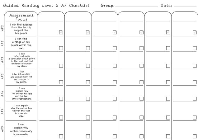 running record sheet for guided reading