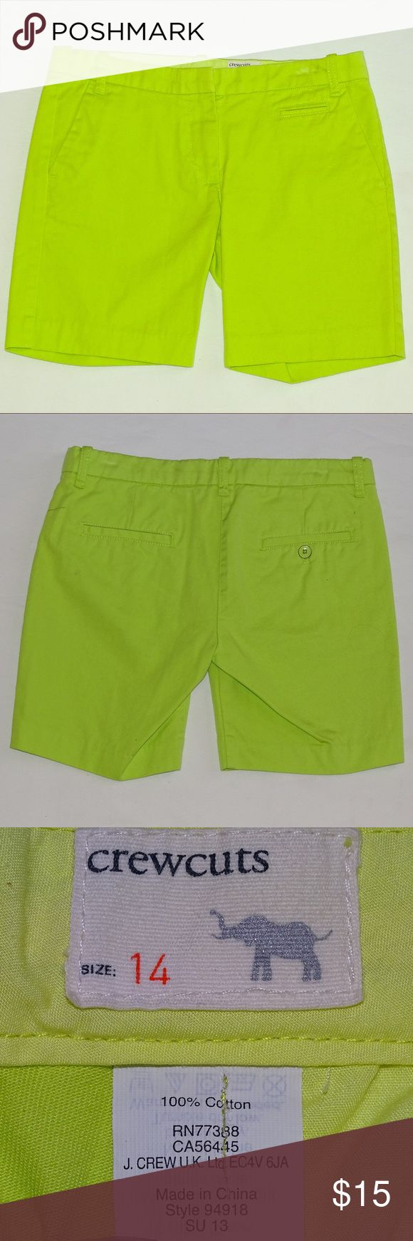 J Crew Girls Chino Bermuda Shorts Neon green with small slit pocket under waistline. Zipper and clasp closure in front. Flat pocket in the back. 100% cotton and are NWOT. J. Crew Bottoms Shorts