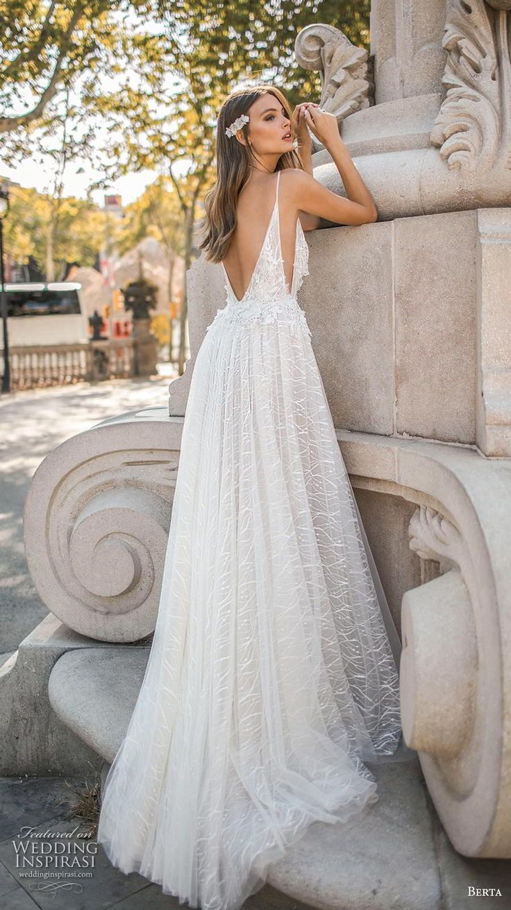 19f2141b10 berta fall 2019 muse bridal spaghetti strap deep v neck full embellishment  open side slit skirt sexy romantic bodysuit a line wedding dress backless  chapel ...