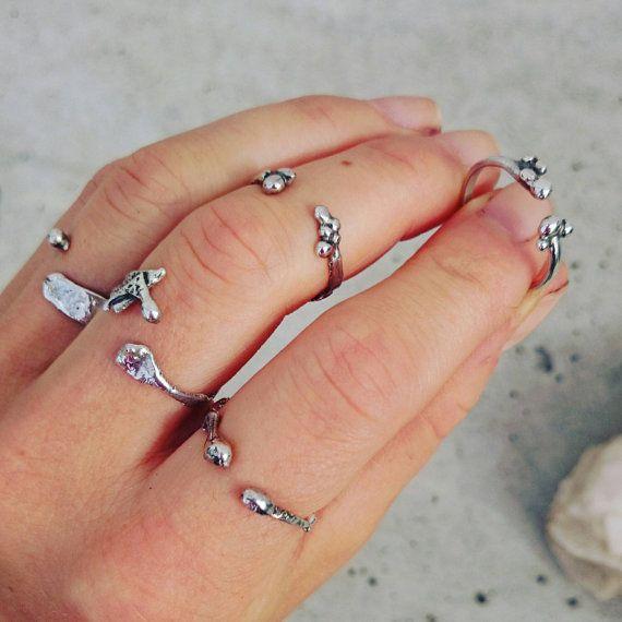 Minimalistische gesmolten zilveren ring, ring midi, moderne ring, zilveren ring band, gerecycleerd ring, verstelbare ring, eco ring, gerecycleerd sieraden