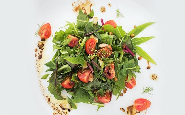 DANDELION & CHERRY TOMATO SALAD – Super boost your spring salads with the peppery flavour of Dandelion - A great source of calcium, fibre, iron, Vitamin C, Vitamin A and complex B vitamins > Recipe on our website.