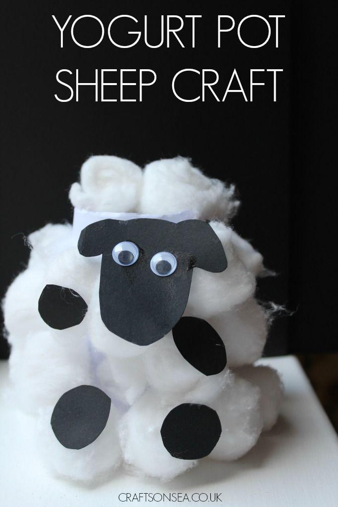 Easy yogurt pot sheep craft for kids.