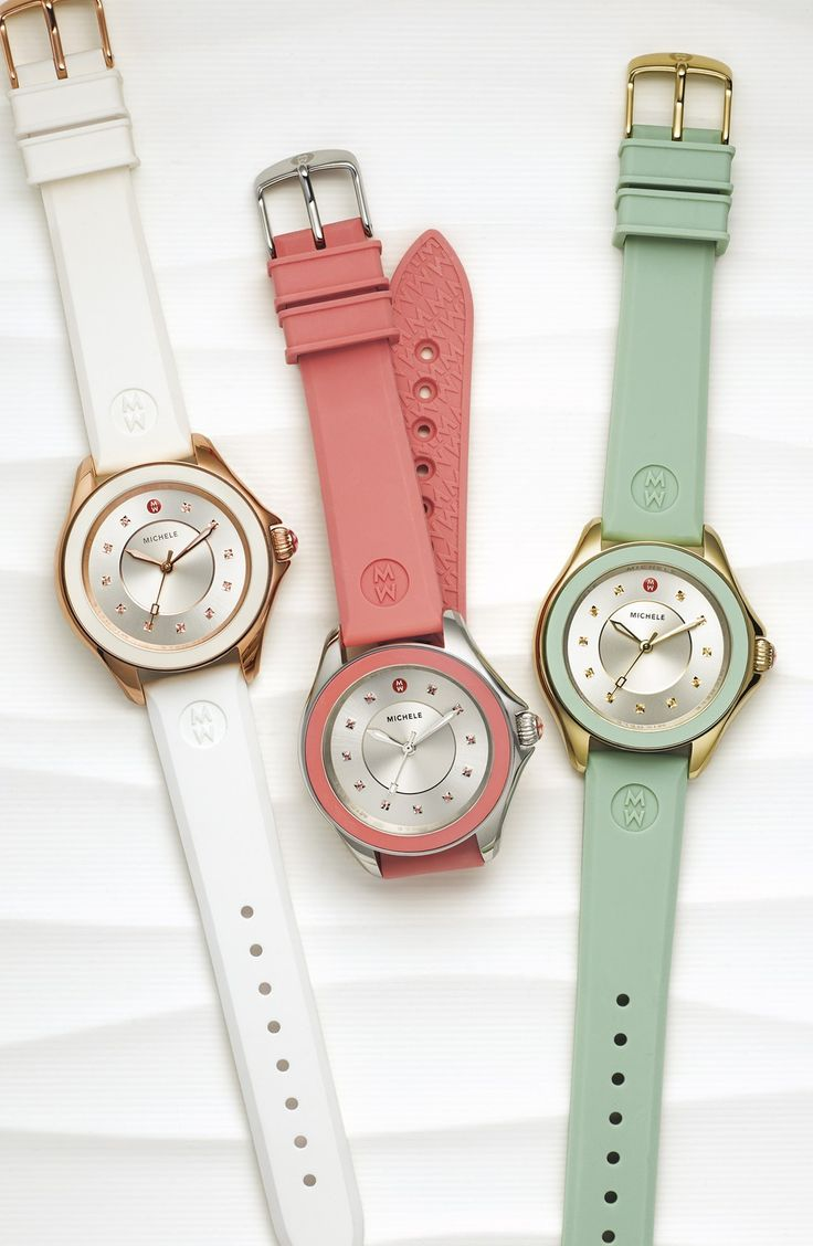 Colorful, sparkling topaz stones adorn the sunray dial of this casually luxe watch from Michele. The smooth silicone straps come in spring-ready hues.