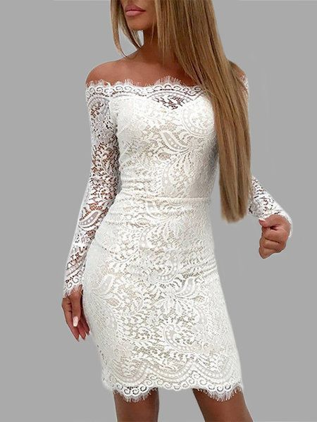 bb430f069 White Lace Details Off The Shoulder Long Sleeves Bodycon Dress - US ...