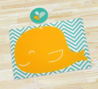 Individual y portavaso para la mesa. La ballena hará que tus niños se diviertan a la hora de comer! http://www.happyhome.com.co/individuales-y-portavasos/individual-y-portavaso-ballenita/