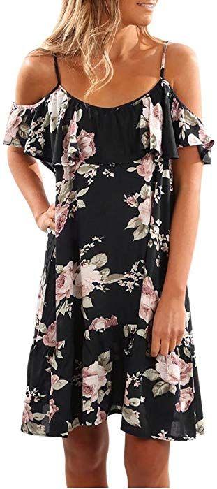 41bf2029623 Angelof Robe ImpriméE Floral à Volants Femmes Été Mini Robe éVaséE Robe de Plage  Courte Chic