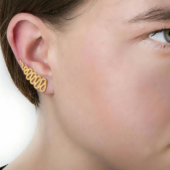 Φίδι Ear ClimbersEar σφαλιάρα Earring925 Sterling