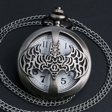 2016 New Arrival High Quality Dark Gray Steampunk Titanium Steel Batman Pocket Watch Necklace Mens/Womens jewelry Promoations