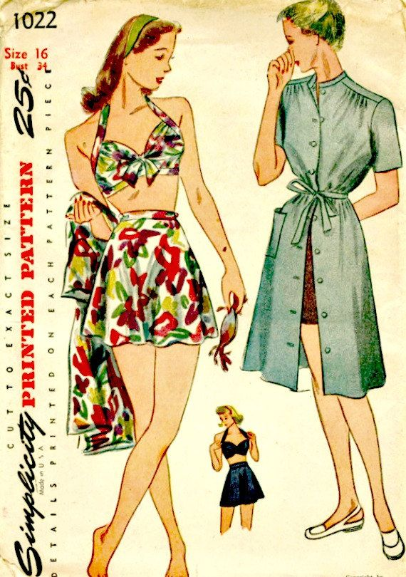 1940's Vintage Sewing Pattern - SIMPLICITY 1022 -  WWII Bathing Suit and Dress - Circa 1944 - UNCUT, Factory-folded