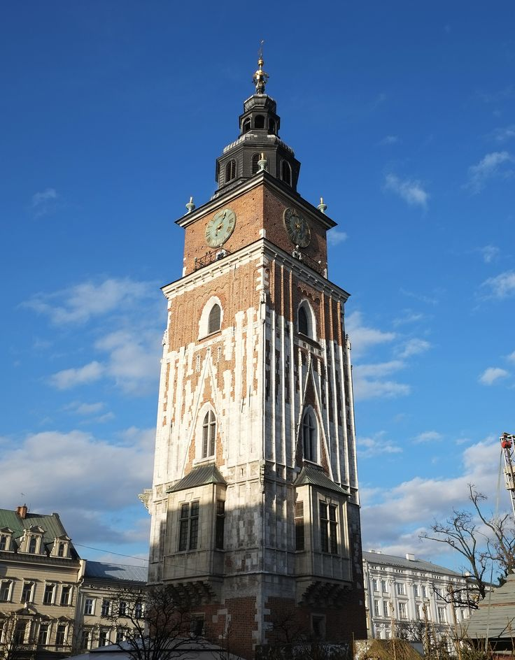 The Time of the city: Town Hall Tower of Krakow, the construction itself was initiated in 13th cent AD, however the structure was heavily renovated in 17th cent AD. Krakow, Poland
