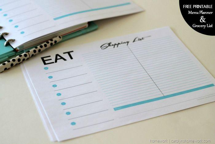 宿題を介した無料印刷メニュープランナー&食料品リスト(4)