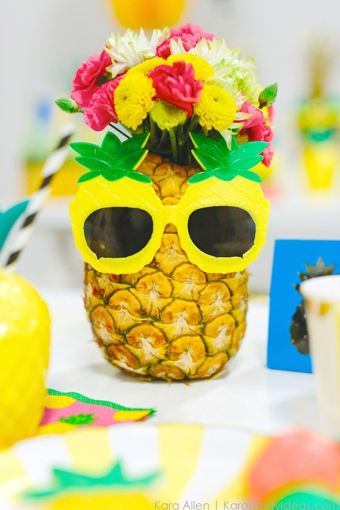 Pineapple themed birthday party via Kara Allen | Kara's Party Ideas | KarasPartyIdeas.com Love the pineapple cookies!_-17