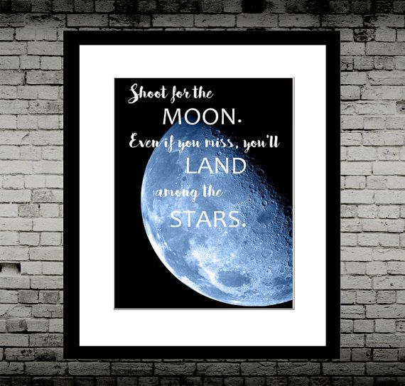 """Shoot for the Moon. Even if you miss, you'll land among the stars - Inspirational Print Art - Wall Art, Nursery, On Archive Paper 8x10""""    Beautiful inspirational quote by Norman Vincent Peale     Printed on matt Fine art archival paper. FRAME NOT INCLUDED. High quality print. Postage up to 14 days.    Also available in:    8x10""""  A4  A3  A2  A1      See my other listings for more quotes and prints! 