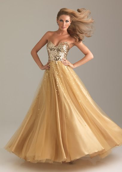 Tragerloses kleid gold