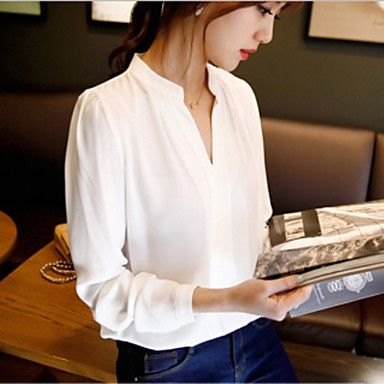 Women's+Solid+White+Blouse,V+Neck+Long+Sleeve+–+CAD+$+8.33