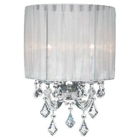 Wall Sconces With Shades And Crystals : Chrome-trimmed sconce with crystal accents and a sheer pleated shade. Product: Wall sconce ...