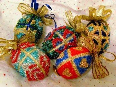 Beaded Faberge Egg TutorialBeads Crafts, Christmas Crafts, Faberge Eggs, Eggs Ornaments, Beads Faberge, Seeds Beads, Easter Eggs, Chicken Eggs, Beads Eggs