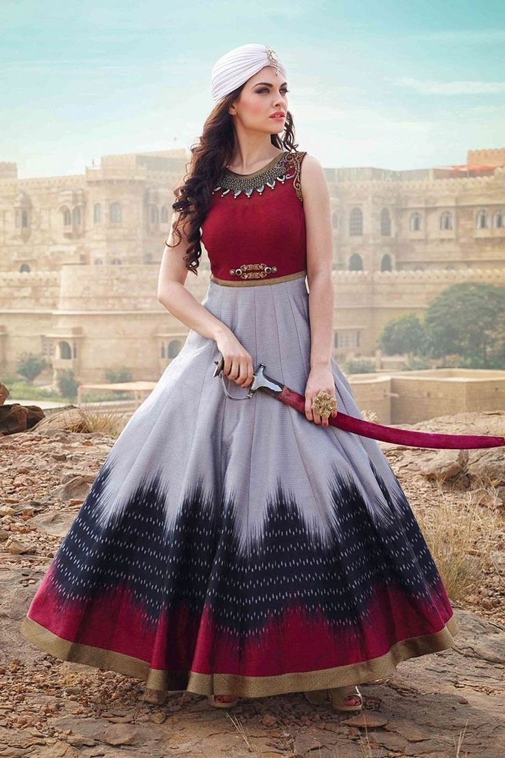Newadays, traditional dresses are winning millions of heart in india, if you are looking designer gown than click on this link http://www.zipker.com/catalog/product/view/_ignore_category/1/id/165402/s/whatshop-new-elegant-red-gray-banglori-silk-designer-embroidery-gown.
