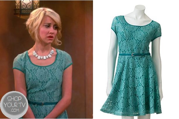 Riley Perrin (Chelsea Kane) wears this green blue lace skater dress to Emma's Baptism in this week's episode of Baby Daddy. It is the LC Lauren Conrad Lace Fit & Flare Dress . Buy it HERE for $12