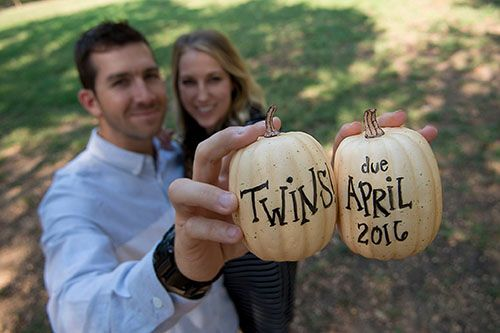 twin baby announcement, fall, pumpkins