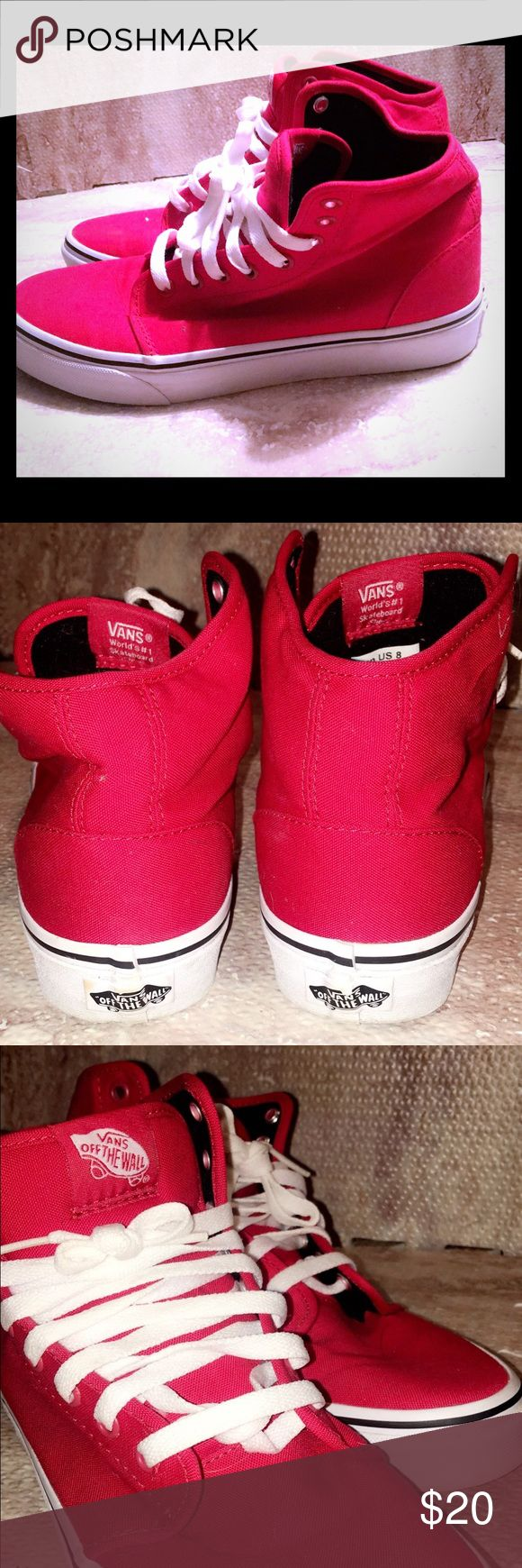Hi top trainers Vans 106 Hi Red True White Trainer Hi top trainers Vans 106 Hi Red True White Trainers Red Shoes T872413 Men's size 8. Gently worn. Fuz on inside material, no other defects Vans Shoes Sneakers