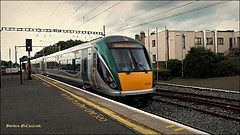 Our train from Rosslare leaving Bray.